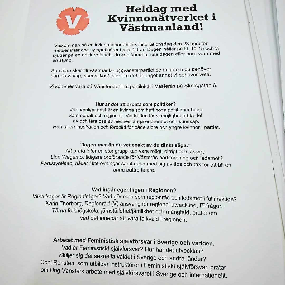 Tips! Den 23 april hlls en kvinnoseparatistisk heldag i Vsters!hellip